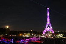 A picture taken on September 28, 2015 in Paris, shows the Eiffel Tower illuminated with a pink light, as part of the 'Ruban Rose' event launched by Paris' Mayor, during the 22nd campaign against breast cancer, in honor of National Breast Cancer Awareness Month, part of the Octobre Rose (Pink October). AFP PHOTO / JACQUES DEMARTHON (Photo credit should read JACQUES DEMARTHON/AFP/Getty Images)