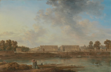 A View of Place Louis XV; Attributed to Alexandre-Jean Noël, French, 1752 - 1834; about 1775 - 1787; Oil on canvas; Unframed: 49.8 x 74.9 cm (19 5/8 x 29 1/2 in.), Framed: 64.8 x 89.5 x 5.1 cm (25 1/2 x 35 1/4 x 2 in.); 57.PA.3